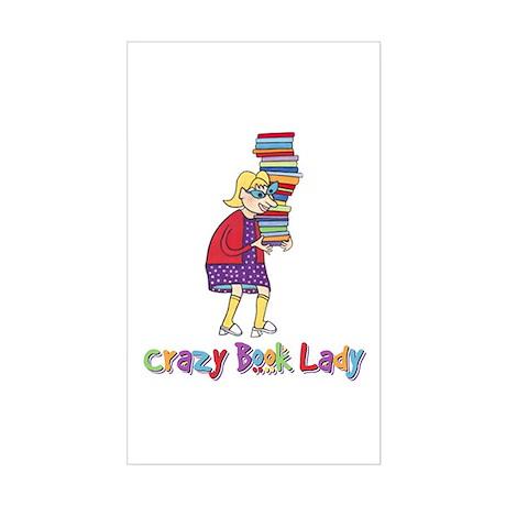 Crazy Book Lady Rectangle Sticker