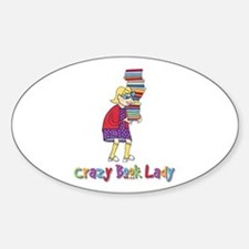 Crazy Book Lady Oval Decal