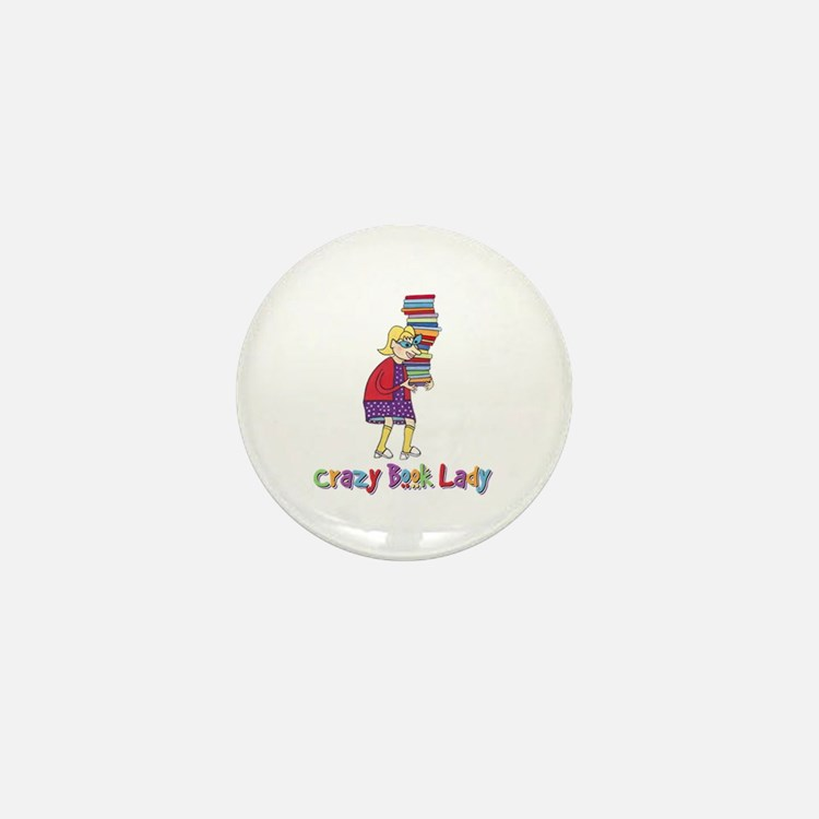 Crazy Book Lady Mini Button