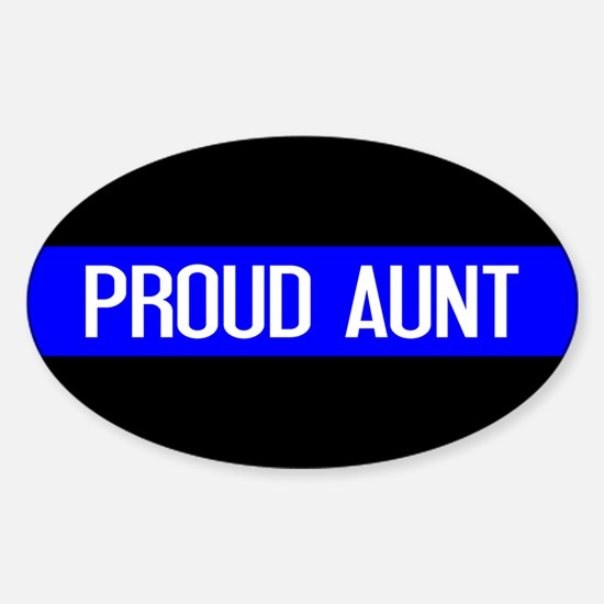 Police: Proud Aunt (Thin Blue Line) Sticker (Oval)