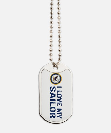 U.S. Navy: I Love My Sailor (Blue & White Dog Tags
