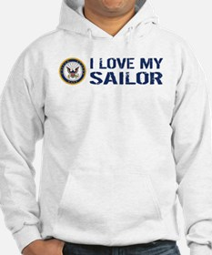 U.S. Navy: I Love My Sailor (Blue & White) Hoodie
