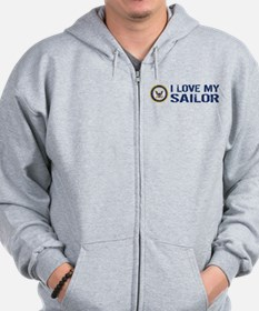U.S. Navy: I Love My Sailor (Blue & White) Zip Hoodie