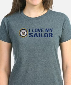 U.S. Navy: I Love My Sailor (Blue & White) T-Shirt