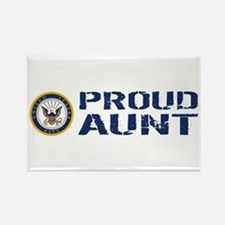 U.S. Navy: Proud Aunt (Blue & Whi Rectangle Magnet