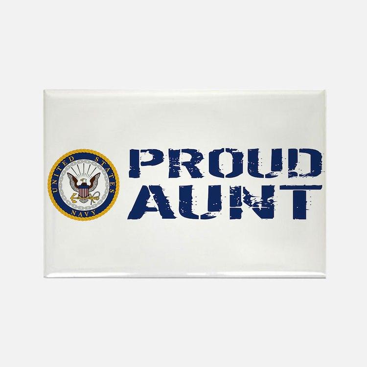 U.S. Navy: Proud Aunt (Blue & Whi Rectangle Magnet