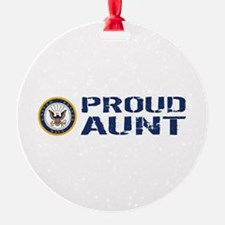 U.S. Navy: Proud Aunt (Blue & White Ornament