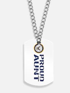 U.S. Navy: Proud Aunt (Blue & White) Dog Tags