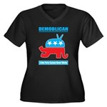 Demoblican Women's Plus Size V-Neck Dark T-Shirt