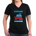 Demoblican Women's V-Neck Dark T-Shirt