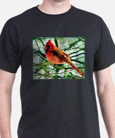 Cardinal Oil Style Painting T-Shirt