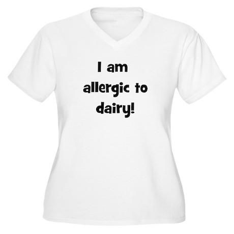 Allergic to Dairy - Black Women's Plus Size V-Neck