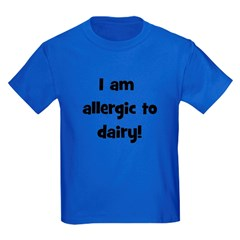Allergic to Dairy - Black Kids Dark T-Shirt