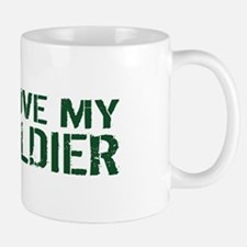 U.S. Army: I Love My Soldier (Green & W Mug