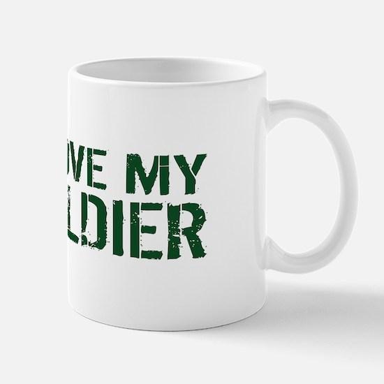 U.S. Army: I Love My Soldier (Green & W Mug