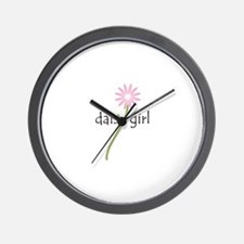Pink Daisy Girl Wall Clock