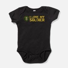 U.S. Army: I Love My Soldier (Black Baby Bodysuit