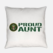 U.S. Army: Proud Aunt (Green & Whi Everyday Pillow