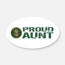 U.S. Army: Proud Aunt (Green & Whi Oval Car Magnet