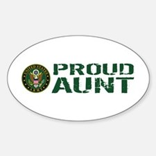 U.S. Army: Proud Aunt (Green & Whit Sticker (Oval)