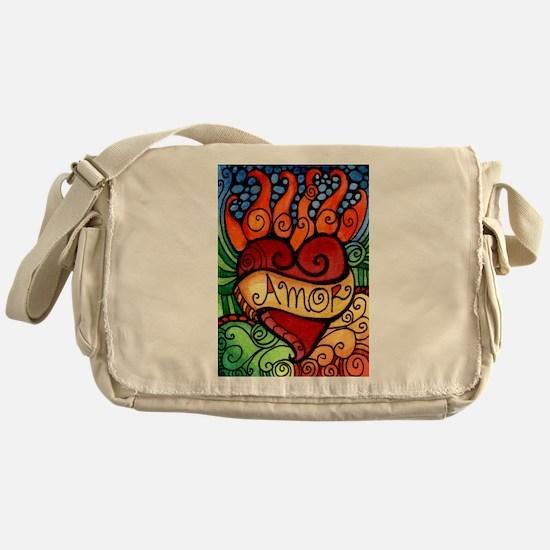 Flaming Milagro Heart Messenger Bag