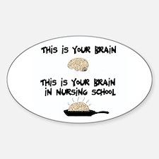 Fried Nursing Student Brain Oval Decal