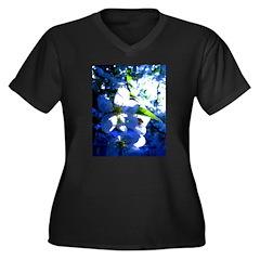 Apple Blossom Blues Women's Plus Size V-Neck Dark