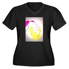 Golden Gal Women's Plus Size V-Neck Dark T-Shirt