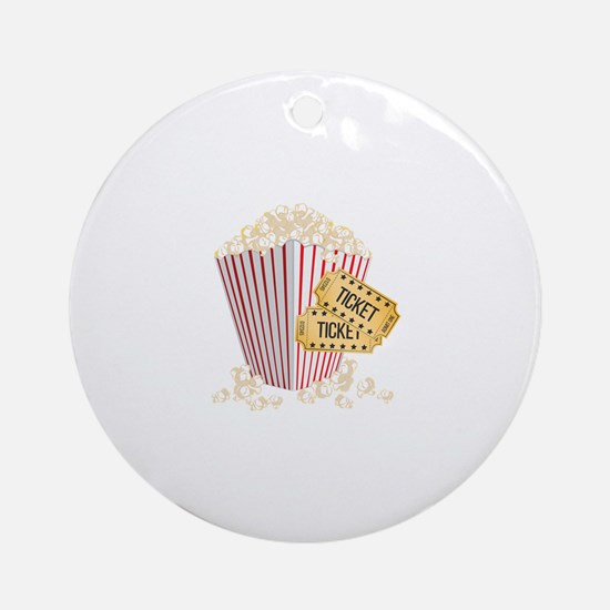 Movie Popcorn Round Ornament