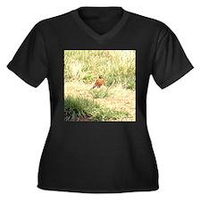 robin Women's Plus Size V-Neck Dark T-Shirt