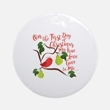 First Day Christmas Round Ornament