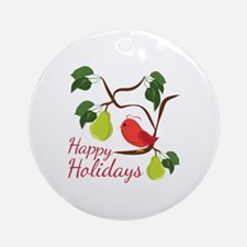 Happy Holidays Round Ornament