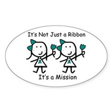 Teal Ribbon - Mission Sisters Oval Stickers