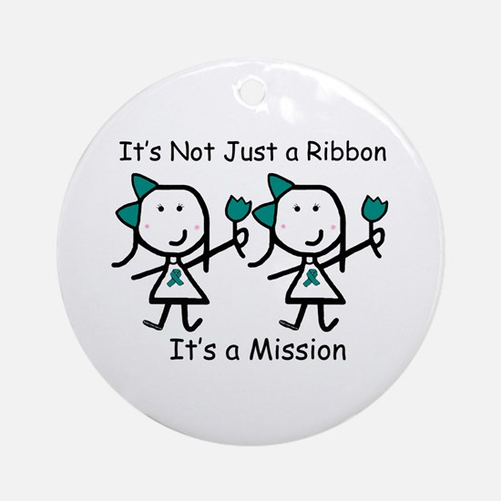 Teal Ribbon - Mission Sisters Ornament (Round)