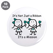 "Teal Ribbon - Mission Sisters 3.5"" Button (10 pack"