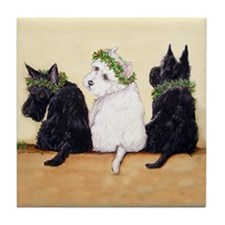 Scottie and Westie Holiday Tile Coaster