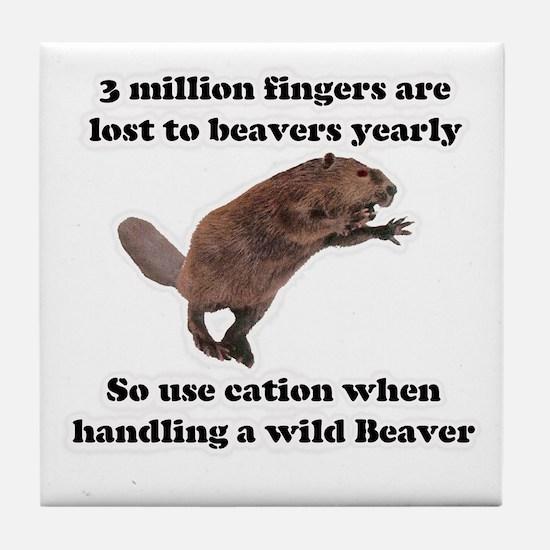 beaver humor gifts Tile Coaster