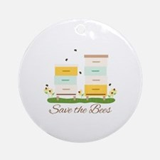 Save The Bees Round Ornament