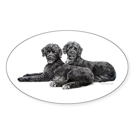 Portuguese Water Dogs Oval Sticker