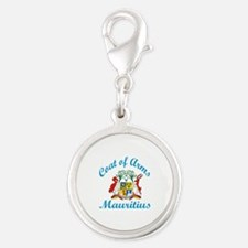 Coat of Arms Mauritius Silver Round Charm