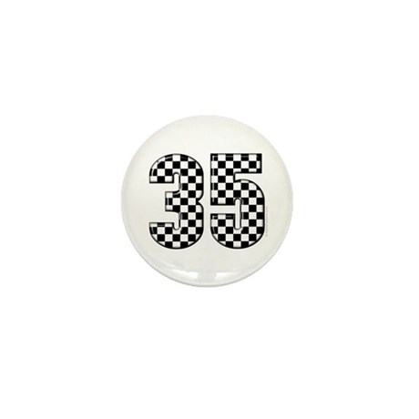 Checkered Number 35 Mini Button