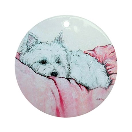 Napping Westie Ornament (Round)