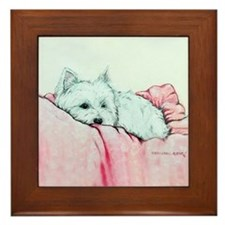 Napping Westie Framed Tile