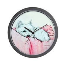 Napping Westie Wall Clock