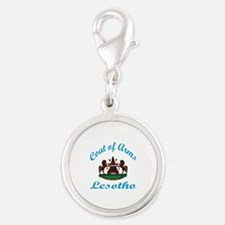 Coat of Arms Lesotho Silver Round Charm