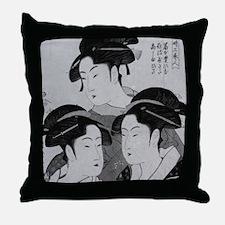 Vintage Japanese Women Throw Pillow