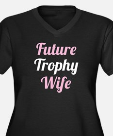 Future Trophy Wife Women's Plus Size V-Neck Dark T