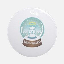 Merry Christmas Globe Round Ornament