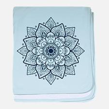 Dark Blue Floral Mandala baby blanket
