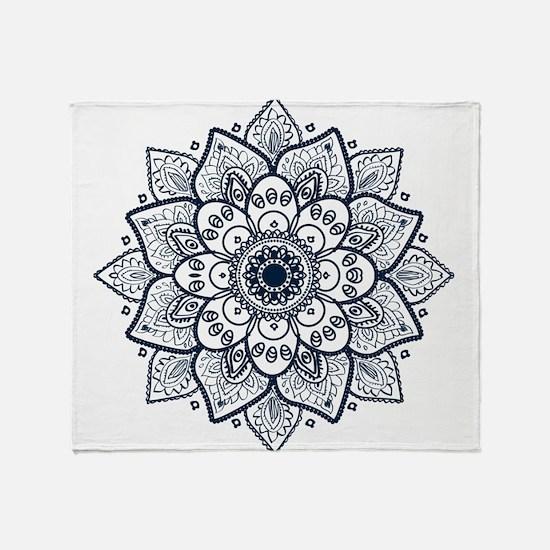 Dark Blue Floral Mandala Throw Blanket